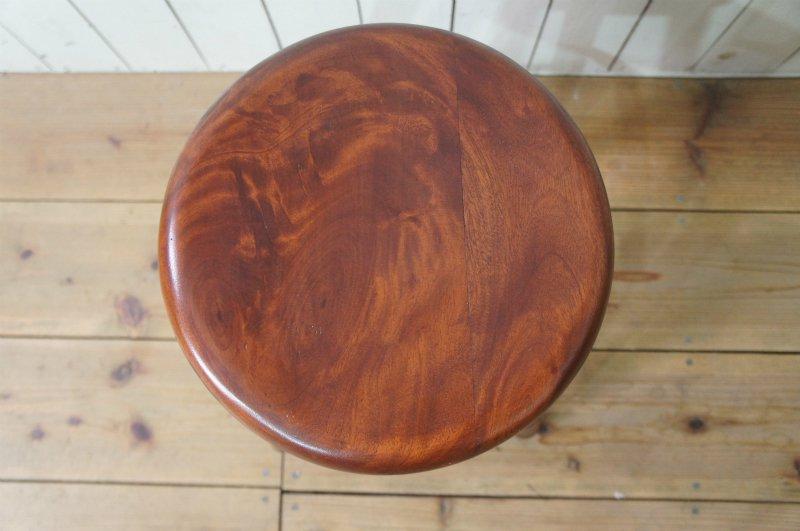 英国アンティーク調 西洋 スツール マホガニー無垢材 丸椅子 ダーク