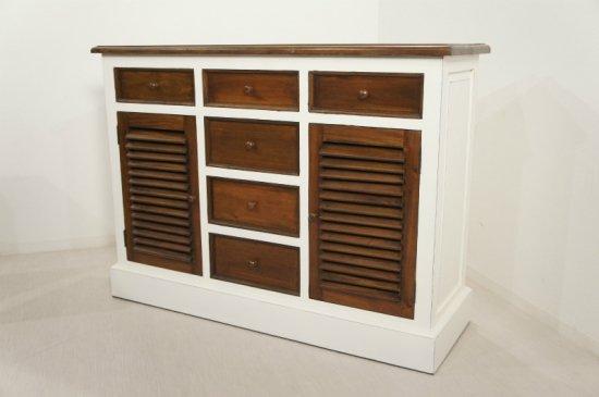 アンティーク調 カウンター 抽斗 ルーバー 引戸 収納棚 レジ台 白家具 木目 店舗什器