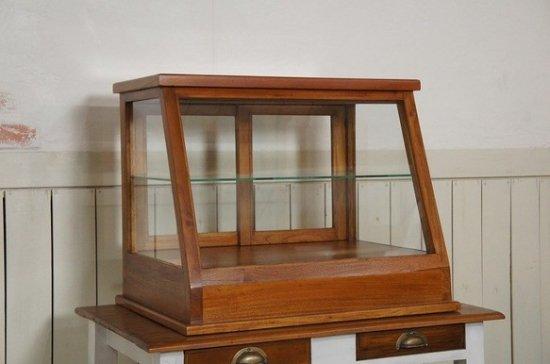 卓上 ガラスケース ショーケース 古木 2段 5面 収納棚 斜めガラス 引き出し 飾り棚 駄菓子