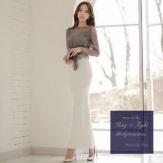 刺繍レースの透け感とロングマーメイドがdressyなセットアップ スーツ