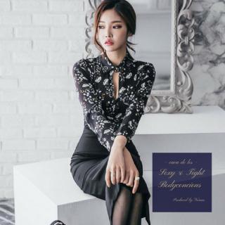 胸元チラ魅せとタイトラインがセクシーなボディコンスカート セットアップ スーツ