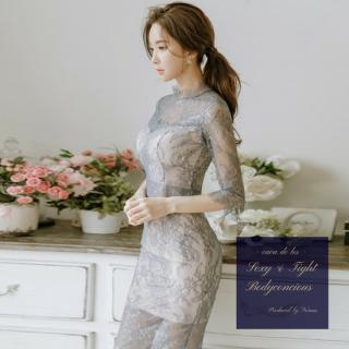 透け感セクシーな花柄刺繍総レースがエレガントなキャバドレス