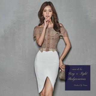 刺繍レースのオフショルデザインがエレガントなスカートセットアップ