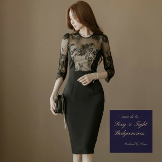花柄刺繍レースのシースルーがエレガントなタイトドレス