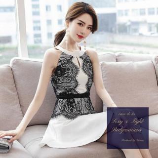 繊細な花柄刺繍がエレガントなモノトーンのタイトドレス