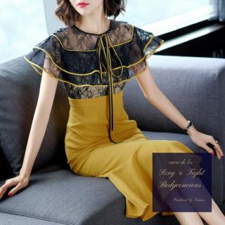 マーメードスカートがエレガントな花柄切り替えのボディコンドレス