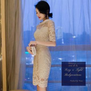 繊細な花柄刺繍がエレガントなシースルーのボディコンキャバドレス