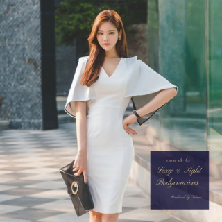 ボリューミーな袖デザインが魅力的なカジュアルタイトドレス
