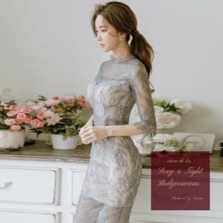 【即納】透け感セクシーな花柄刺繍 総レースがエレガントなキャバドレス