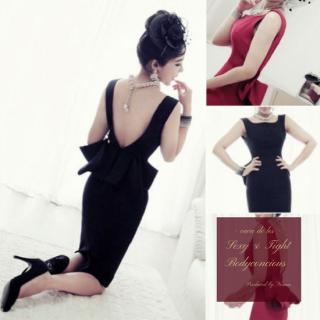 【即納】大きなリボンがエレガントなバックシャン ヘップバーン ボディコン ドレス