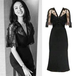 ブラックレースの透け感が大人エレガントなタイトドレス