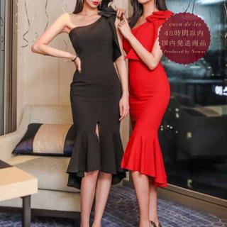 【即納】ワンショルダーとマーメイドデザインがゴージャスなボディコンキャバドレス