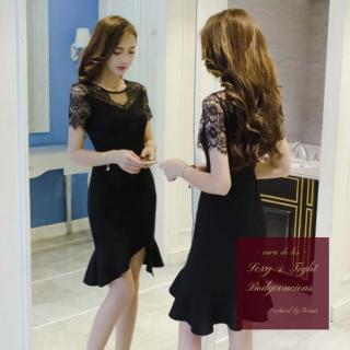 【即納】透け感レース袖×マーメイドスカートがエレガントな印象のタイトドレス