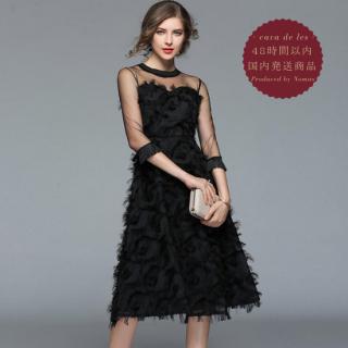【即納】シースルー×ボリューミーなフェザーでゴージャスな印象のブラックドレス