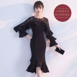 【即納】フレアスリーブ&刺繍シースルーがスタイリッシュなタイトドレス