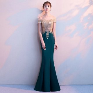 繊細な刺繍デザインがゴージャスなマーメイドラインのオフショルタイトドレス