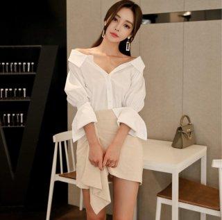 白シャツの大胆な谷間魅せが悩殺セクシーなスカートセットアップ キャバスーツ
