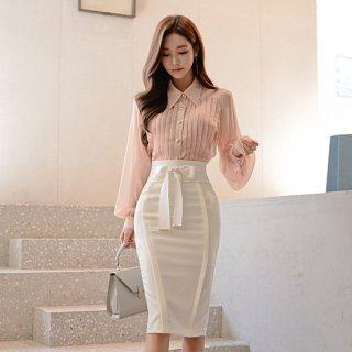 透け感シフォンのバルーン袖が大人フェミニンなタイトスカートのセットアップ