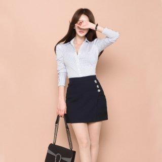 シンプルなストライプ柄が使いやすいタイトスカートのセットアップ キャバスーツ