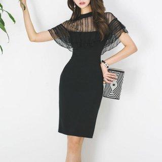 シースルーがセクシー フリルスリーブが大人かわいい黒のカジュアルタイトドレス