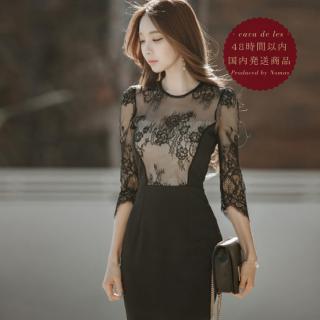 【即納】花柄レースのシースルーが上品セクシーな黒の袖ありタイトドレス
