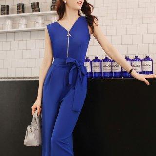 フロントファスナーがおしゃれなウエストリボンのパンツドレス オールインワン 2色