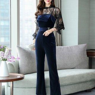 デートや同伴に Wフリルの刺繍レース袖が大人かわいいベロアパンツの上品セットアップ