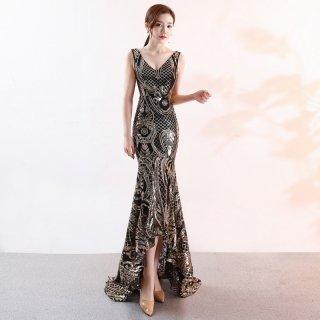 スパンコールの派手柄でゴージャスに マーメイドラインが上品セクシーなノースリーブのマキシ丈ドレス 4色
