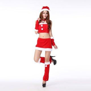 お腹見せでセクシーに サンタ衣装の6点セットアップ コスプレ