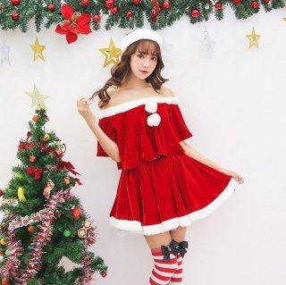 クリスマスパーティーやイベント衣装に たっぷりフリルがキュートなオフショルダーのサンタ衣装3点セットアップ