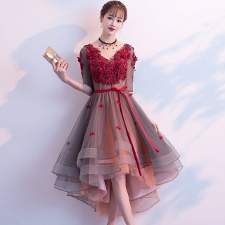 重ねチュールでガーリーに 立体花柄が上品かわいいフィッシュテールのロングドレス