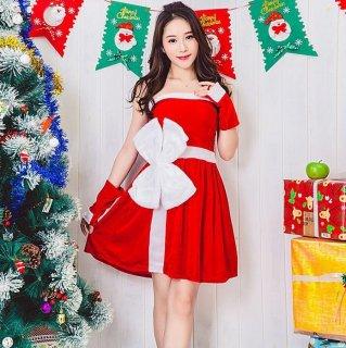 クリスマスパーティーやイベント衣装に BIGリボンがキュートなワンピースとアームウォーマーの2点セット