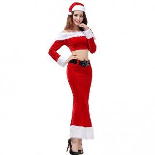 クリスマスパーティーやイベント衣装に セパレートのお腹見せがセクシーなサンタコスプレのスカートセットアップ
