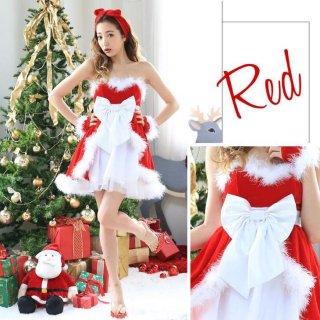クリスマスパーティーやイベント衣装に レイヤード風スカートがガーリーなリボン付きサンタコスプレ3点セット ワンピース
