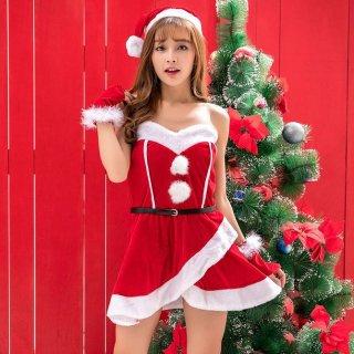クリスマスパーティーやイベント衣装に ベアトップのミニワンピがセクシーなサンタコスプレ4点セット