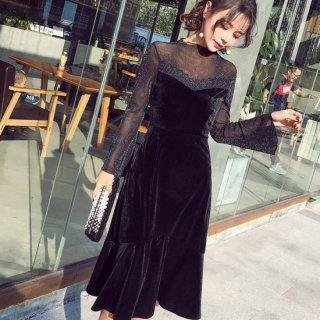 デートや同伴に ラメ入りシースルーが大人かわいいマーメードスカートの長袖ワンピース