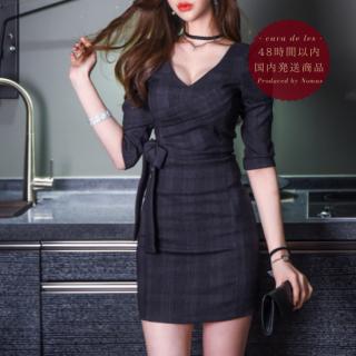 【即納】チェック柄×サイドリボンがフェミニンなボディコンキャバドレス