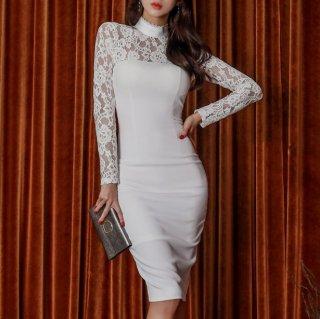 花柄レースで上品セクシーに ハイネックがおしゃれな白の長袖膝丈ボディコンワンピース ドレス