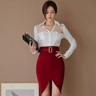 個性的でおしゃれな海外デザイン 上品セクシーなシャツトップスとタイトスカートのセットアップ