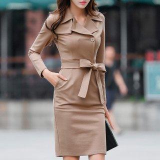 タイトな美シルエット 上品でおしゃれなトレンチ風膝丈長袖ワンピース 2色