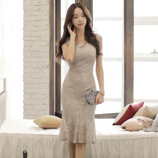人気の海外デザイン 上品セクシーなマーメイドスカートのボディコン総レースワンピース ドレス
