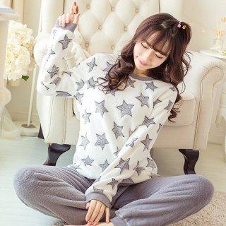 スター柄がかわいいU字トップスとロングパンツのおしゃれルームウェア パジャマ 3色