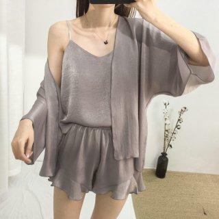 人気の海外デザイン キャミソールとショートパンツのガウン付きセクシールームウェア  6色