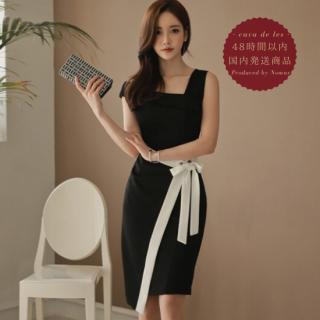 【即納】バイカラーのリボンデザインがスタイリッシュなタイトドレス