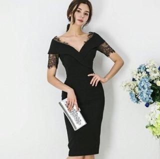 人気の海外デザイン チラ見せレースが上品かわいい膝丈ボディコンワンピース ドレス