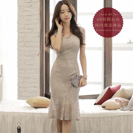 【即納】人気の海外デザイン 上品セクシーなマーメイドスカートのボディコン総レースワンピース ドレス