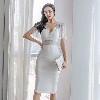 人気の海外デザイン 上品セクシーな透けレースの膝丈ボディコンワンピース ドレス