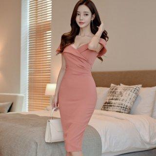 デートや同伴にも 大胆な谷間セクシーな谷間見せの上品かわいい膝丈タイトワンピース ドレス