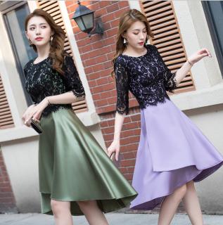個性的でかわいい海外デザイン レースドッキングの袖ありフレアワンピース ドレス 2色