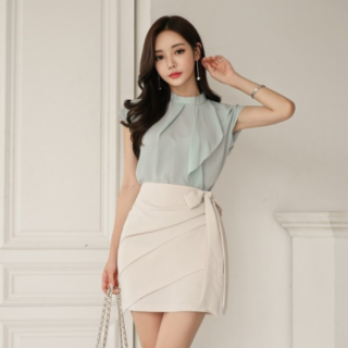 人気の海外デザイン 上品かわいいリボンスカートのきれいめセットアップ